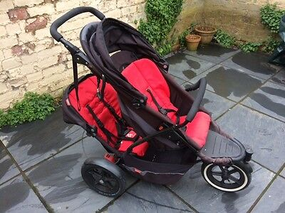 Phil & Teds Explorer black/red double-seat jogger/pushchair/stroller & carrycot