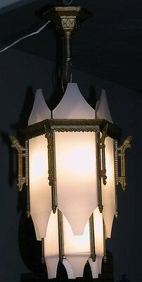 Vintage Deco Egyptian 12 Panel Geo Slip Shade Milk Glass Chandelier Fixture 30""