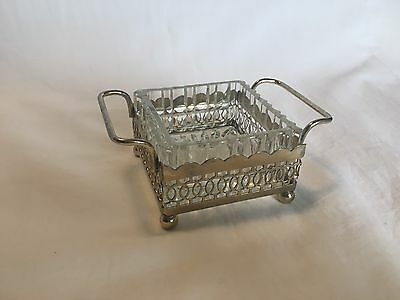 Vintage Art Deco silver plated and glass butter / preserve dish