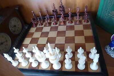 Antique German Biedermeier Selenus Style Bone Chess Set Schachspiel