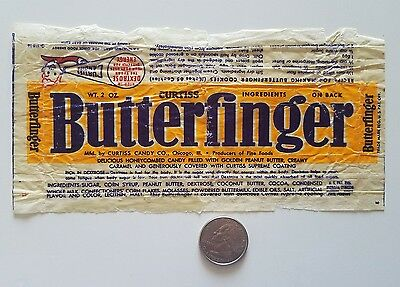 pre owned vintage CURTISS 1940's candy wrapper BUTTERFINGER old dextrose caramel