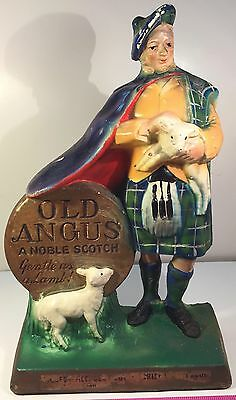 1930's Old Angus Scotch Advertising Store Bar Display Figure & 2 Lambs In Color