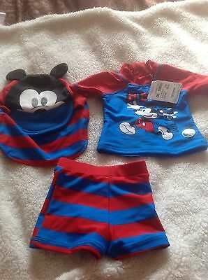 baby UVProtection 3 piec set top trunks hat Disney baby Micky 3-6months new with