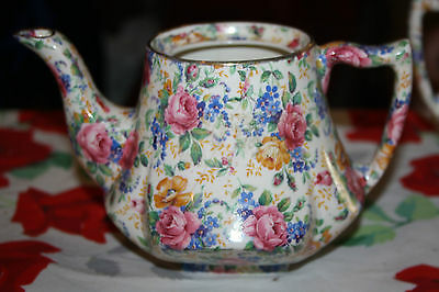 "JAMES KENT English CHINTZ ""Rosalynde"" TEAPOT As is No lid"