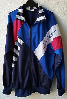 Rare Vintage Hi-Tec Tracksuit Top Blue Pink White Striped Retro Track Jacket L