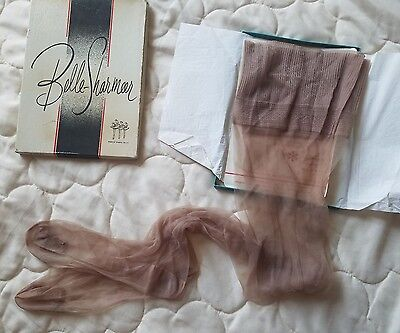vintage BELLE-SHARMEER nylon Stockings Taupe NOS seamless 10-1/2 dutchess