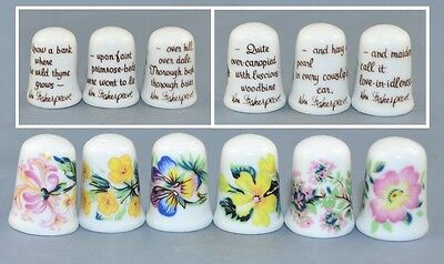 Set Of Six Caverswall W.shakespeare Thimbles