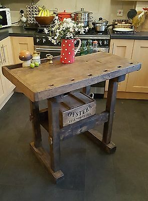 rustic workbench butchers block kitchen island  rustic table antique  workbench