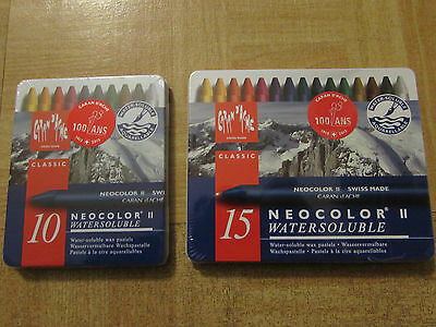 2 Sets Caran D'Ache NeoColor II Water Soluble Wax Pastel (Set 10pcs and 15pcs)