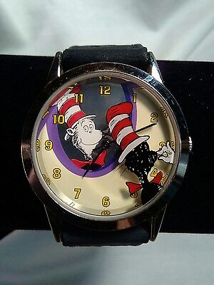 HTF! Dr Seuss Cat in the Hat Wrist Watch Tick Tocking Time Tickers 1997