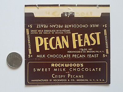 PECAN FEAST 1940's candy Bar wrapper old Paper label milk Chocolate Rockwood's