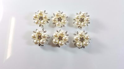 6pcs Brooch Pin Girl's Pearl Flowers with Rhinestones Breastpin for Wedding