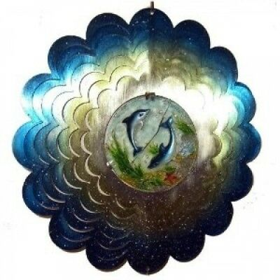 30cm Metal And Poly Resin Blue Aqua And Silver Dolphin Wind Spinner. StealStreet
