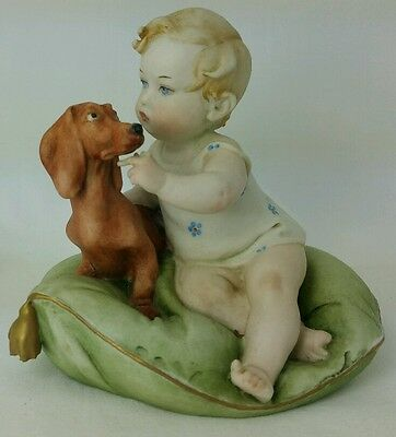 Vintage Capidemonte Dachshund & Child By Guiseppe Cappe