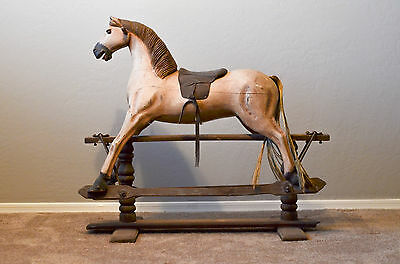 Large Vintage Wooden Rocking Horse Real Horse Hair Tail Victorian Estate Find