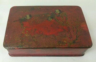 Antique Chinese Lacquered Trinket Box With Painted Scene
