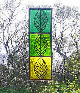 STAINED GLASS LEAVES. Handmade by The Stained Glass Panel Studio.