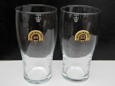 x2 Boddingtons beer pint glasses