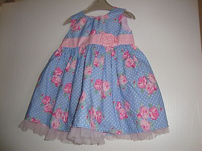 Tu Baby Girls Blue / Pink / White Floral Fully Lined Dress 6-9 Mths Ex Condition