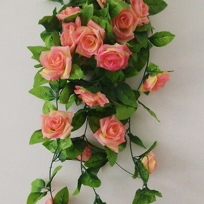2.4m Artificial Silk Rose Flower Ivy Vine Leaf Garland Wedding Home Decor Hot