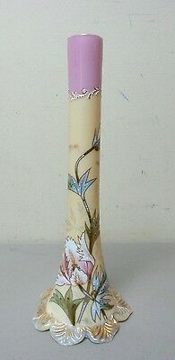 "MT. WASHINGTON / SMITH BROTHERS OPAL GLASS HAND PAINTED 12"" BUD VASE, c. 1880"