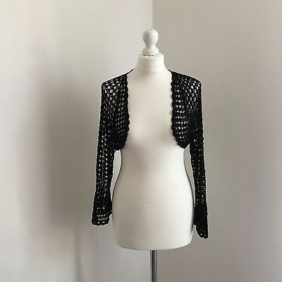 Warehouse lace crochet black cropped crop shrug cardigan 12 14