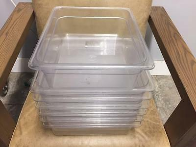 Lot of Hubert 7 Clear Food Pan Plastic Containers Storage Half Size 6.3 Qts