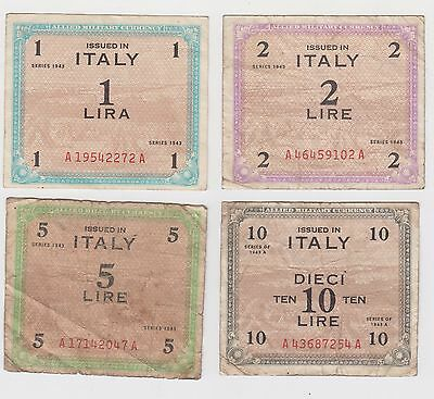 4 Original Ww2 Italian Banknotes Allied Military Currency 1943 Set 3