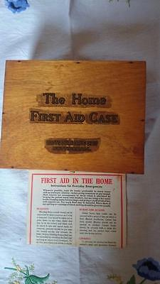 Vintage Wood THE HOME FIRST AID CASE Boots Pure Drug Co Ltd with contents