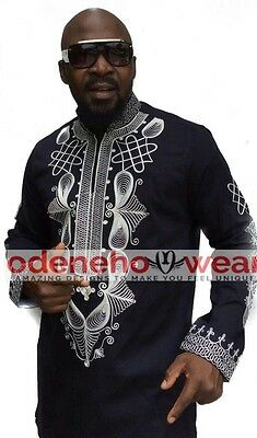 Odeneho Wear Men's Black Polished Cotton Top/ Embroidery. African Clothing