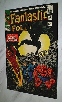 Fantastic Four #52 NM+ 9.6 OW/W pgs 1966 1st Black Panther *Kirby & Lee Signed*