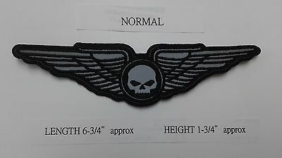"""1 PC """"S"""" SIZE REFLECTIVE SKULL ON WINGS BIKER  EMB PATCH 6-3/4x1-3/4"""" SEW-ON"""