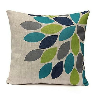 Color Leaves Printed Vintage Square Pillow Case Sofa Cushion Cover Waist Throw