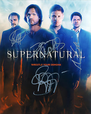 Supernatural 'TV Series' Hand Signed By Cast Of All 4 10x8 !