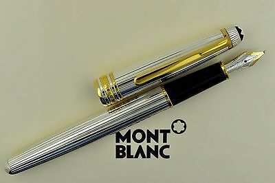 Montblanc Meisterstuck 144S Solitaire Sterling Silver Pinstripe Fountain Pen M