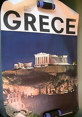"38.5"" Vintage Greece Athens Acropolis Tourism Travel Poster 1963 N Marroyenis"
