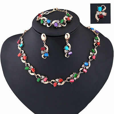 1Set Multicolored Women Christmas Gift Rhinestone Necklace Earrings Jewelry Sets