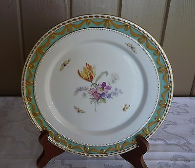 KPM Berlin - Herzog von KURLAND Decor 73 PLATE - Painted FLOWERS & BUTTERFLIES