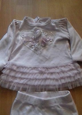 Baby girl Biscotti outfit pink leggings and top set Age 3 Months