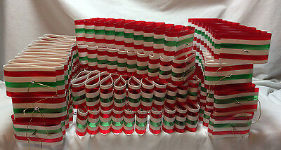"""Lot Vintage Large Ribbon Candy Christmas Ornament Decorations Outdoor or In 10"""""""