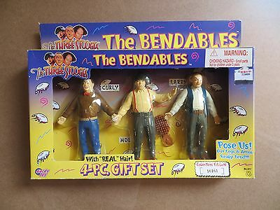 "Three Stooges ""The Bendables"" Moe Larry Curly Dolls with real hair Gordy Toy"