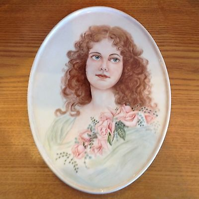 Vintage Porcelain Portrait Lady W/Roses Handpainted Signed Tray