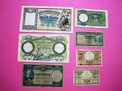 Albania Lot 7 Banknotes 1926 - 1939 Nd Good Quality  1