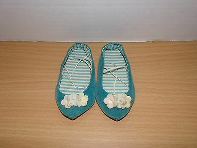 Vintage Chatty Cathy Shoes Teal Blue Velvet Mattel 1960's Flowers Very Nice