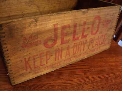 Jell-O Vintage Wood Dovetail Advertising Crate Box With Red Lettering Print