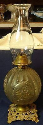 """Flower Composite Crystal & Metal Oil Lamp 11.5"""" with Chimney"""