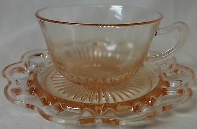 Old Colony Pink Cup and Saucer Set of 4 Hocking Glass Company