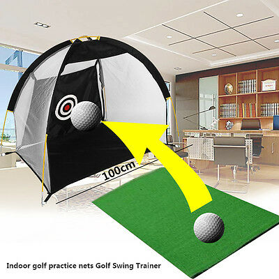 Sports Portable 1M Golf Training Cages Practice Net Training Aid Driving Mat