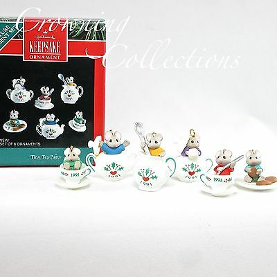1991 Hallmark Tiny Tea Party Miniature Mice Ornament Set of 6 Porcelain Ed Seale
