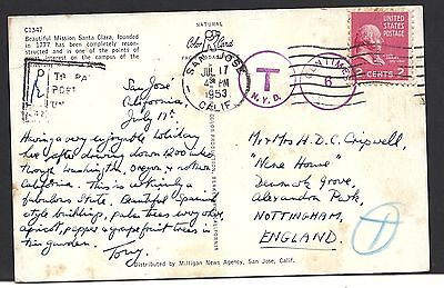 """1953 US Post Card  To England w """"T"""" CDS Cancellation"""
